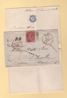 Italie - 1868 - Destination France - Marcophilia