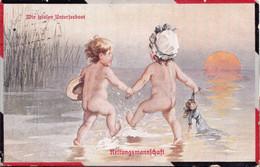 Set Of 5 Illustrated Postcards, Fialkowska, Wir Spielen Unterseeboot, Garçon Fille Jouer Sous-marin 1916-1924 - Fialkowska, Wally