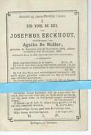 Josephus Eeckhout Wed Agatha De Mulder O Baaigem 1804 + Baaigem 1890 - Images Religieuses
