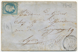 ISERE ENV 1858 LA FRETTE PC ET T22 INDICE 16 COTE = 190 EUROS - 1849-1876: Classic Period