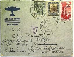 1941-Libia Lettera Diretta D'Italia Con Affrancatura Tricolore Con Annullo Di Zuara Tripoli Del 29. 6 + Fascetta E Bollo - Marcofilía