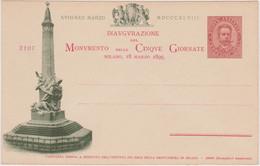 1895 CARTOLINA COMMEMORATIVA Inaugurazione Monumento 5 Giornate Vignetta Verde Nuova - Marcofilie
