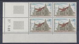 EGLISE De BROU N° 1582 - BLOC De 4 COIN DATE - NEUF SANS CHARNIERE - 27/3/69 1 Trait - 1960-1969