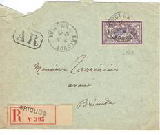 200 Merson 60 C. Violet Lettre Recommandée Avec  AR De Brioude (haute Loire) 24-3-1922 - 1900-27 Merson
