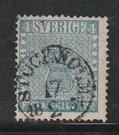 SUEDE - N°2 Obl (1855) 4s Bleu - Gebraucht