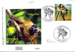 MAYOTTE 0167 Fdc Lémurien, Maki - Affen