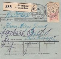 Paire 60c Merson Sur Bulletin Colis 1 Kg Strasbourg Robertsau 1924 Pour Wanzel Par Chatenois (Kestenholz) - 1900-27 Merson
