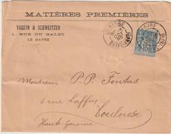 ESC 15c Sage O. Daguin Le Havre Seine Inférieure 1896 - 1877-1920: Période Semi Moderne