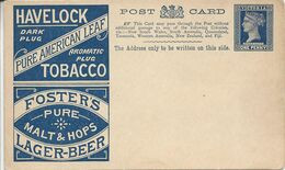 Victoria Carte Postale, Entier Postal, Thème Bière, Beer, Bier. Foster's, Tobacco Havelock. Ganzsachen - Biere