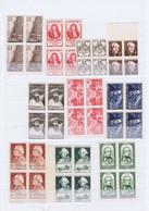 J3021  10 Blocs De 4 De Tp  Neufs Differents Des Annees 40-50 - Unused Stamps