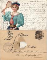 Ansichtskarte  Sport - Tennis, Frau Mit Tennisschläger - Litho AK 1901 - Tennis