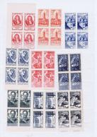 J3023  9 Blocs De 4 De Tp  Neufs Differents Des Annees 40-50 - Unused Stamps