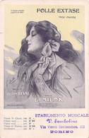 "02077 ""TORINO-STABILIMENTO MUSICALE-FOLLE EXTASE-COMPOSITORE E.MILOK-GASTON DEVAL"" ANIMATA. CART SPED 1906 - Vari"