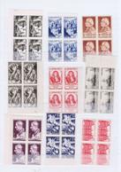 J3025  9 Blocs De 4 De Tp  Neufs Differents Des Annees 40-50 - Unused Stamps