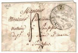 1838 - LETTRE LAC Avec GRAND CAD De ANCY LE FRANC (YONNE) Pour SOUPPES SOUPPE Avec TAXE MANUSCRITE (PORT DÛ) - 1801-1848: Voorlopers XIX