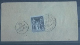 FRANCE. Journaux.        1 Centime Noir Sur Azuré Avec 1/2 Centime En Plus Sur Fragment De Bande De Journaux - Newspapers
