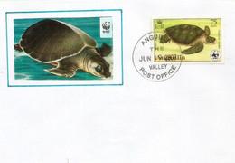WWF ANGUILLA .  La Caouanne (Caretta Caretta) Espèce Menacée D'extinction., Belle Lettre De Valley Post-office - Turtles