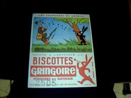 """Vieux Papier Publicité  Buvard Biscottes Gringoire Les Aventures De Gringo """" Retour à L'envoyeur """" - G"""
