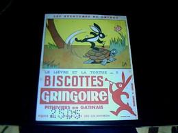 """Vieux Papier Publicité  Buvard Biscottes Gringoire Les Aventures De Gringo """" Le Lièvre Et La Tortue 2 """" - G"""