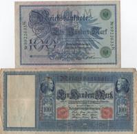 Lot De 2 Billets De Reichsbanknote : 100 Mark (1908 - 1910) - 100 Mark