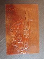 CPSM  Souvenir De CORSE.Bastia. Calvi. Corte. Ajaccio. Sartene.Blasons. Imitation Cuir. Création Schubert. Repoussé Main - Zonder Classificatie