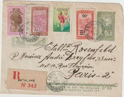 Entier Illustré  50c + Complément, Recommandé 1F75 Antalaha 1934 + Vignette - Storia Postale