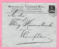 Th.14 Suisse EP Privé Tell 15c Weinhandlung = VINS (tirage= 1000) Altstätten St-Gallen 16.XII 18 Verso= Weinfelden 16.12 - Wijn & Sterke Drank