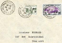Lettre - Salon De L' Aéronautique PARIS - 30/11/1934 Sur Orphelins - TTB - 1921-1960: Modern Tijdperk