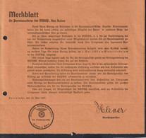 DR NSDAP Karlsruhe / Merkblatt Für Parteianwärter - Oorlog 1939-45
