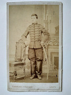 Photographie Ancienne CDV - Militaire Chasseur à Cheval - Sabre - Cavalerie - Circa 1870 - Lyon - BE - Oorlog, Militair