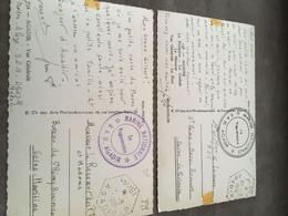 LOT DE 2 CACHETS MARCOPHILIE SUR CPSM  MILITAIRE MARINE NATIONALE B.A.N AGADIR - Barcos