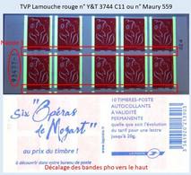 FRANCE - Carnet Numéro 93477-3, Décalage Barres Pho Vers Haut - TVP Lamouche Rouge - YT 3744 C11 / Maury 559 - Uso Corrente