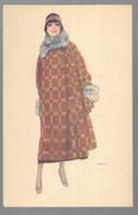 Cpa...illustrateur Italien...Lax...art Nouveau..art Déco..mode...femme élégante En Manteau De Fourrure...chapeau.. - Andere Illustrators