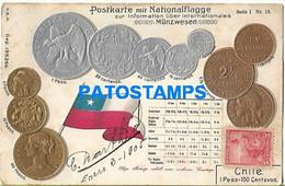 149011 CHILE ART EMBOSSED MULTI COIN & FLAG POSTAL POSTCARD - Cile
