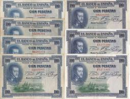 SERIE COMPLETA DE 7 BILLETES DE 100 PESETAS DEL AÑO 1925 CON TODAS LAS SERIES: SS-A-B-C-D-E-F  (BANKNOTE) - 100 Pesetas