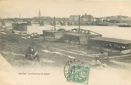 71 - MACON - Le Pont Sur La Saone En 1907 - Bateaux Lavoirs - Macon