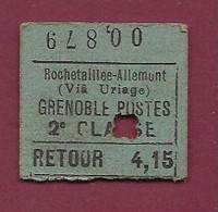 061220A - TICKET CHEMIN DE FER TRAMWAY - FRANCE Rochetaillee Allemont Via Uriage GRENOBLE POSTES Retour 4,15 00879 - Europe