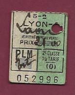 061220A - TICKET CHEMIN DE FER TRAMWAY - FRANCE LYON LAON 5-2 PLM 2e Classe 1/2 Tarif 052996 - Europe