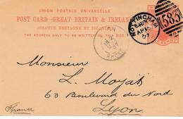 Union Postale Universelle - ( Grande-Bretagne Et Irlande ) - Entier Postal Vers Lyon - Carte Lettre - United Kingdom