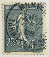 YT 132 (°) Obl Semeuse Lignée 25c Cachet à Date Montech Tarn-et-Garonne 1905 – Nys - 1903-60 Semeuse Lignée