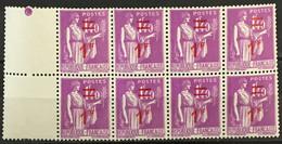 YT 484 (**) 1940 Bloc De 8 Type Paix 1f Sur 1f40 Lilas (côte Détachés 4,8 Euros) – 0 Lot - Unused Stamps