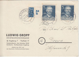 Berlin - 2x5 Pfg. Lilienthal + Notopfer/Oberrand Karte Augsburg - Gießen 1953 - Lettres