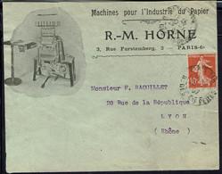 """Fr """"Machines Pour L'Industrie Du Papier R. M Horne à Paris"""" Affr Semeuse 10 C Sur Enveloppe Pour Lyon - Cachet 29-4-1907 - 1877-1920: Semi Modern Period"""