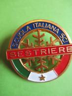 Médaille De  Sport Ancienne/Insigne/SKI/ Métal Léger Doré/ SESTRIERES/Bertoni/Milano/Italie  / Vers 1980-1990   SPO354 - Winter Sports