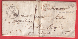 CAD TYPE 15 BAGNOLS SUR CEZE GARD CL ROUGE 1858 BOITE RURALE I VENEJAN LA ROQUE - 1801-1848: Voorlopers XIX