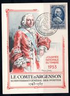 1953 - VIEUX-CHARMONT - JOURNEE DU TIMBRE - COMTE D'ARGENSON - 1950-59