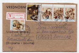 1989. YUGOSLAVIA,SLOVENIA,NOVA GORICA TO BELGRADE,VALUE,V LETTER,POSTER STAMPS AT THE BACK - Covers & Documents