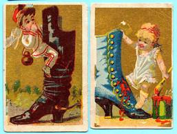 2 Petites Chromos, Différents Publicités. Scènes D'enfants Avec Des Bottes Gigantesques. Fond Doré. - Non Classés