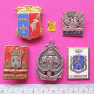 Lot N°18 / Marine Nationale / 4x Insignes = AC La Grandière, CT Guichen, C Gloire, CIN, MM Laos - Navy