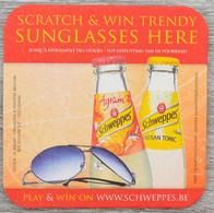Sous-bock SCHWEPPES Scratch & Win Trendy Sunglasses Here (lunettes De Soleil) Bierdeckel Bierviltje Coaster (CX) - Portavasos